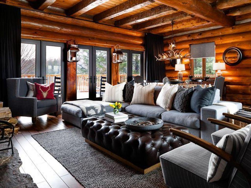 Stunning Lodge Living Room Decor Ideas 05
