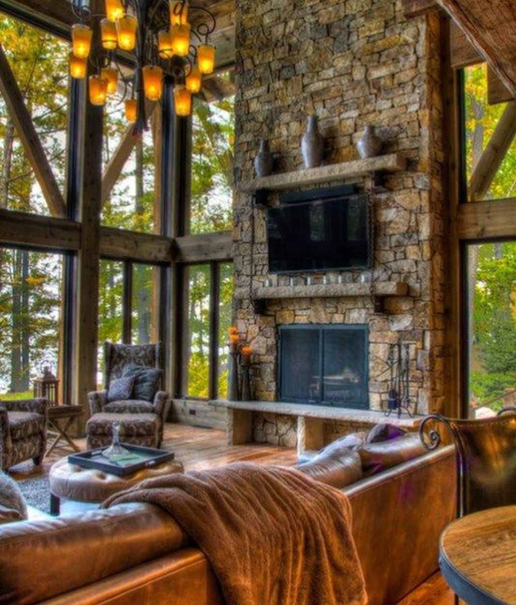 Stunning Lodge Living Room Decor Ideas 09