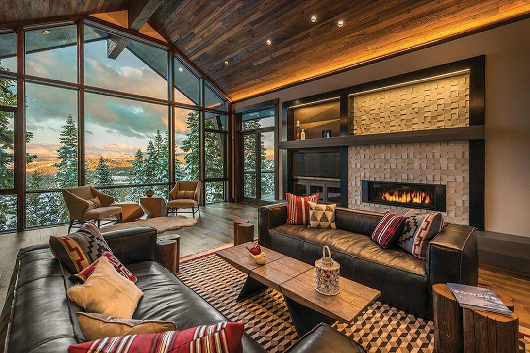 Stunning Lodge Living Room Decor Ideas 12