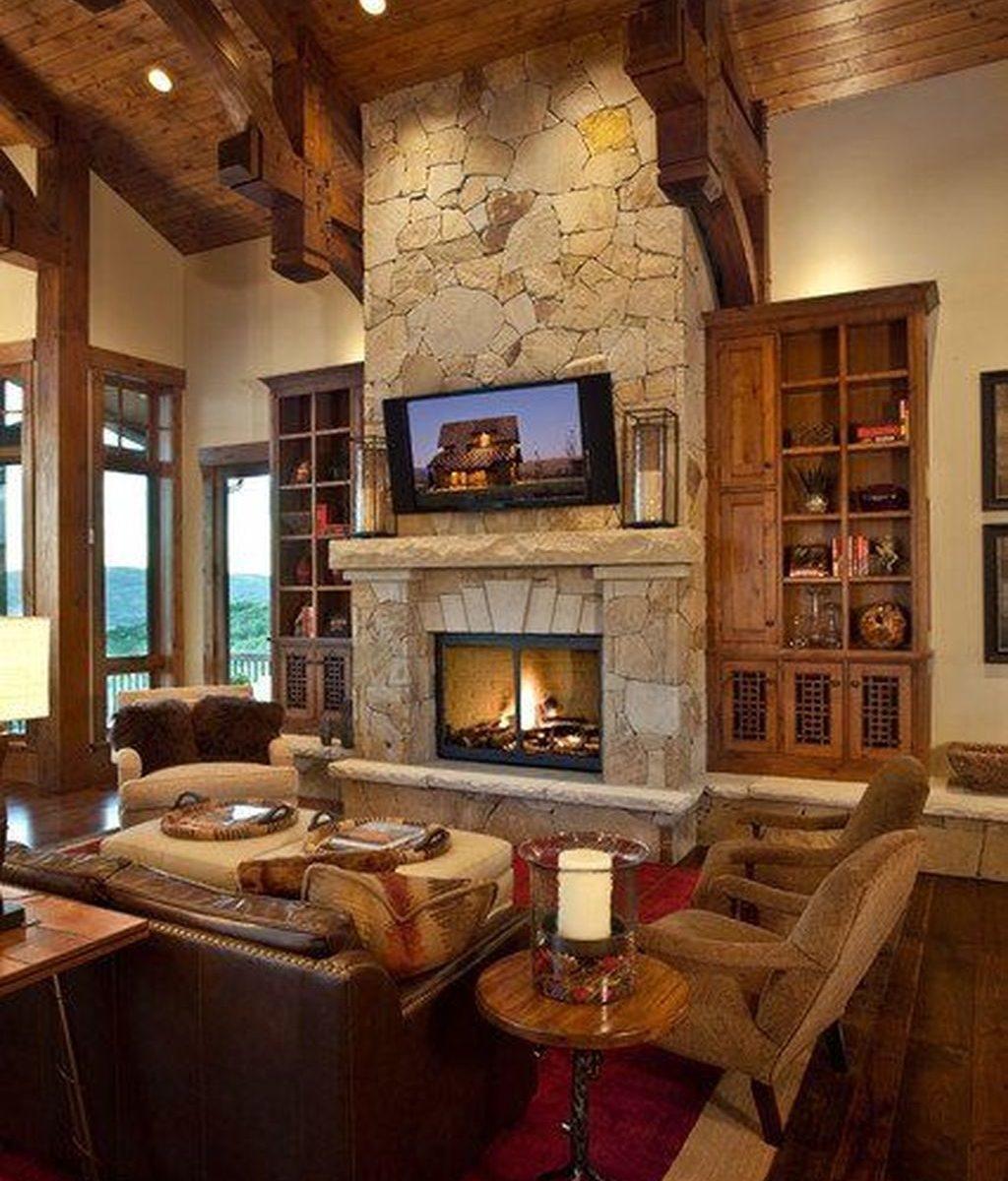 Stunning Lodge Living Room Decor Ideas 13