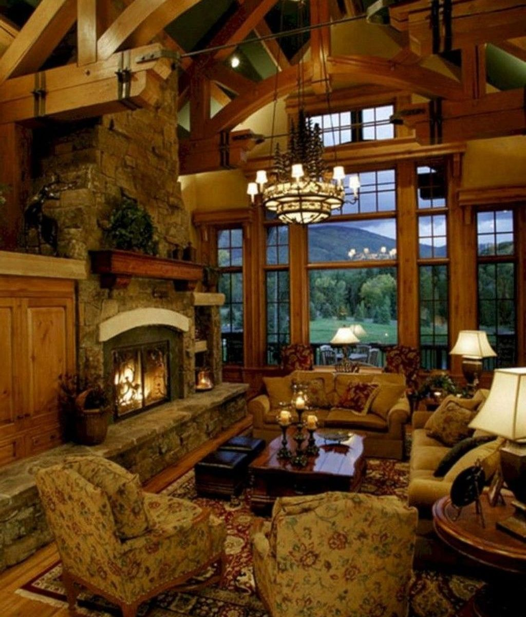 Stunning Lodge Living Room Decor Ideas 25