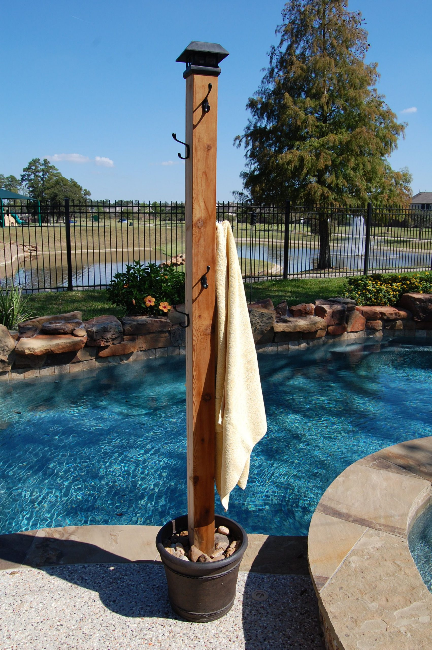Outdoor Pool Towel Rack
