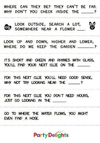Outdoor Treasure Hunt Clues