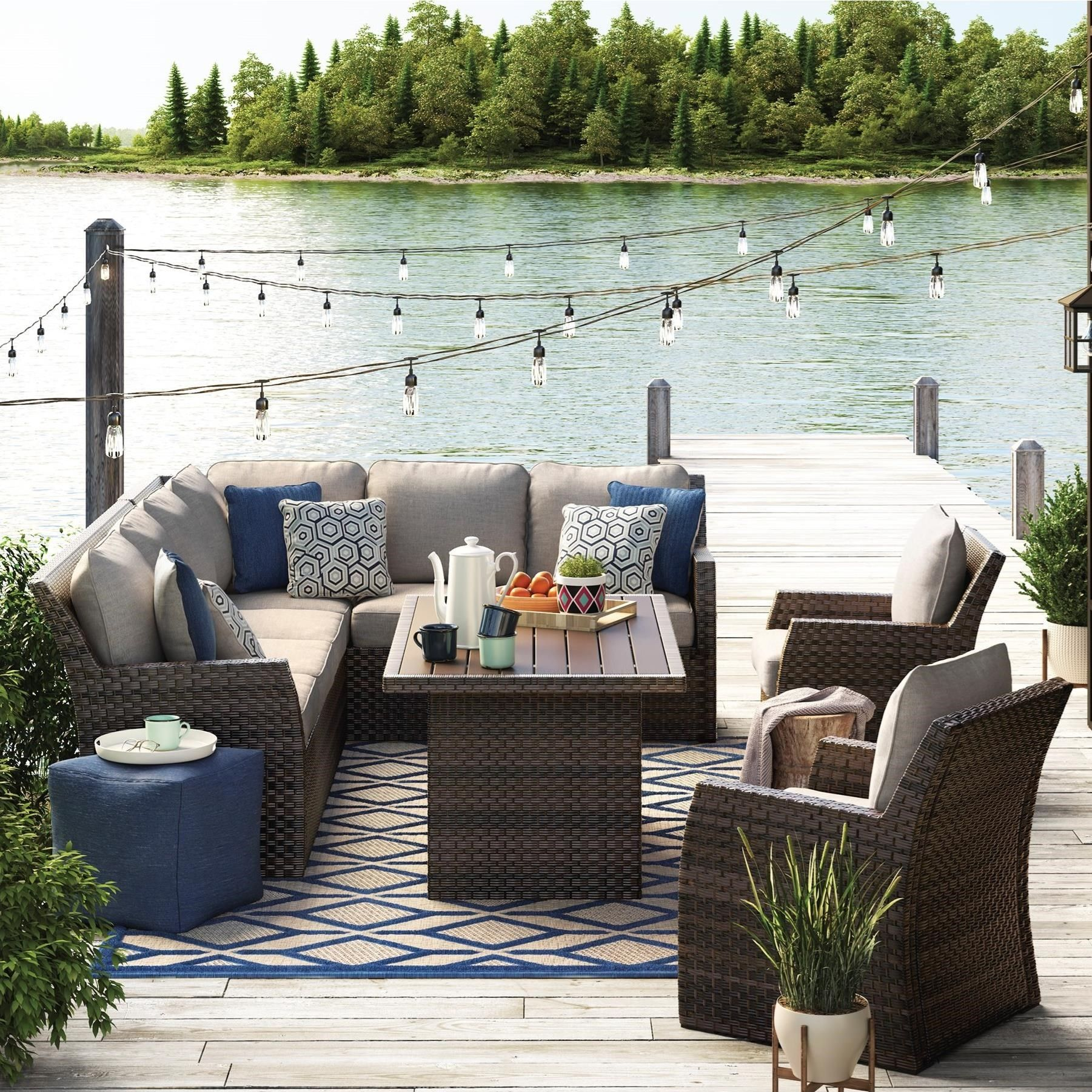 Outdoor Sectional With Dining Table