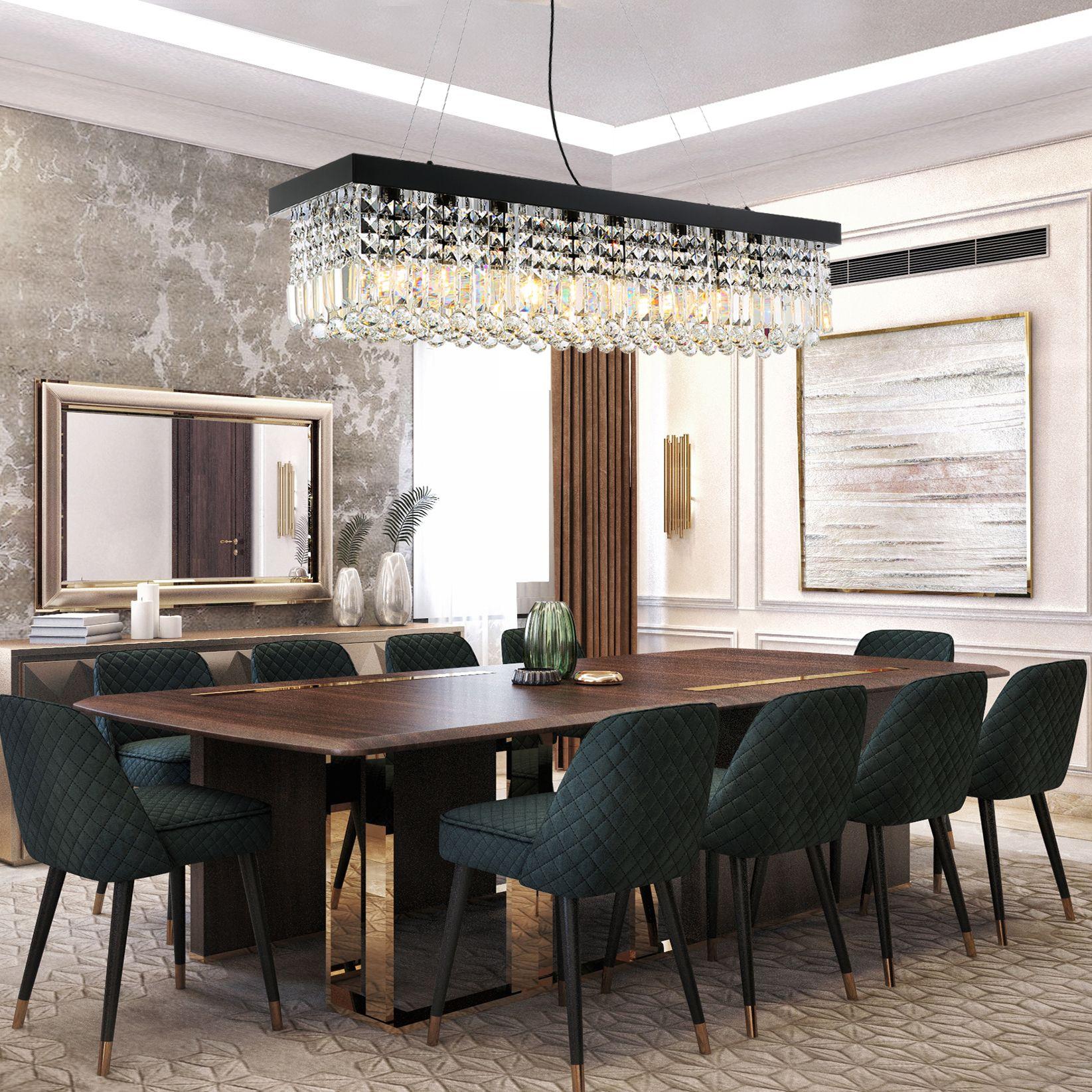 Rectangular Chandelier Dining Room