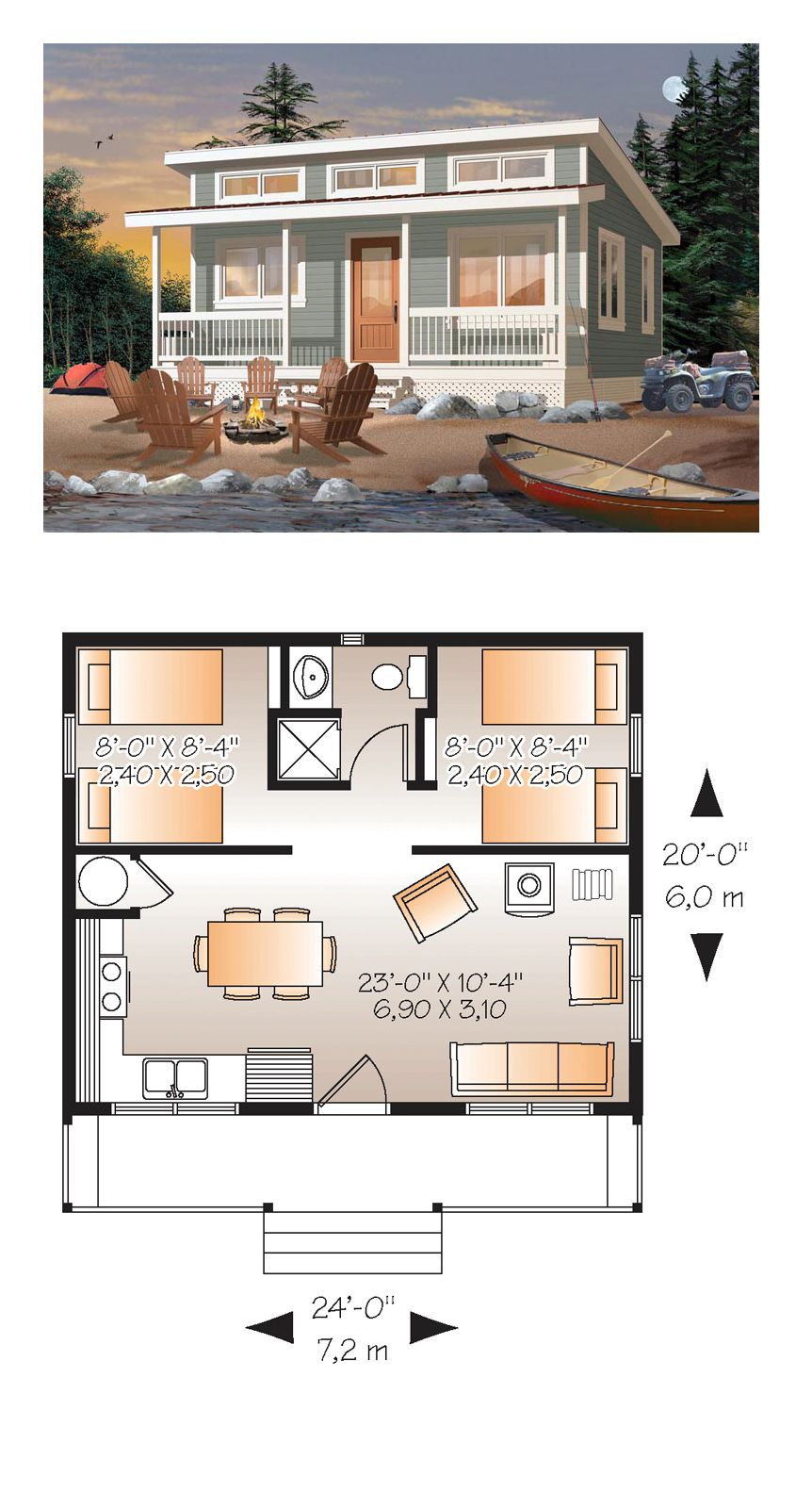 2 Bedroom Tiny House Plans