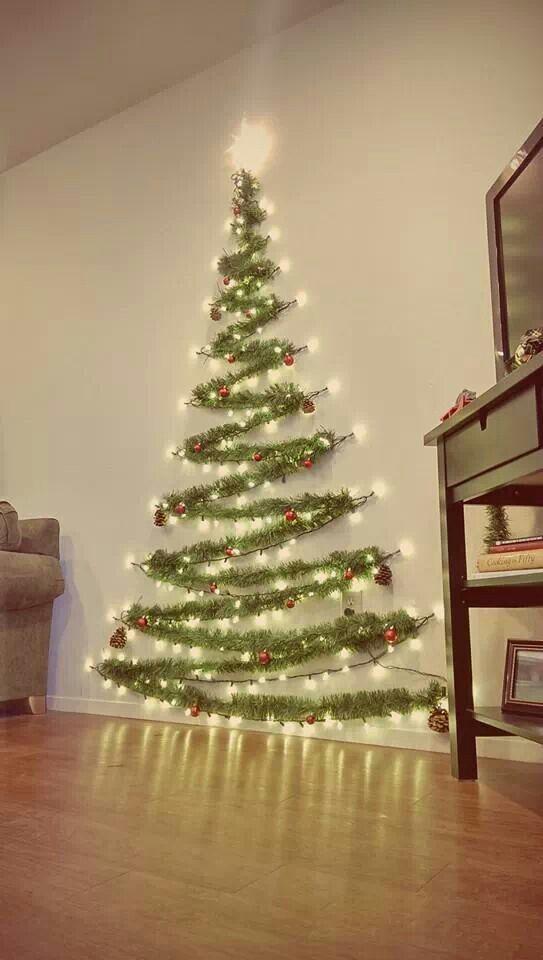 Christmas Tree On Wall With Lights