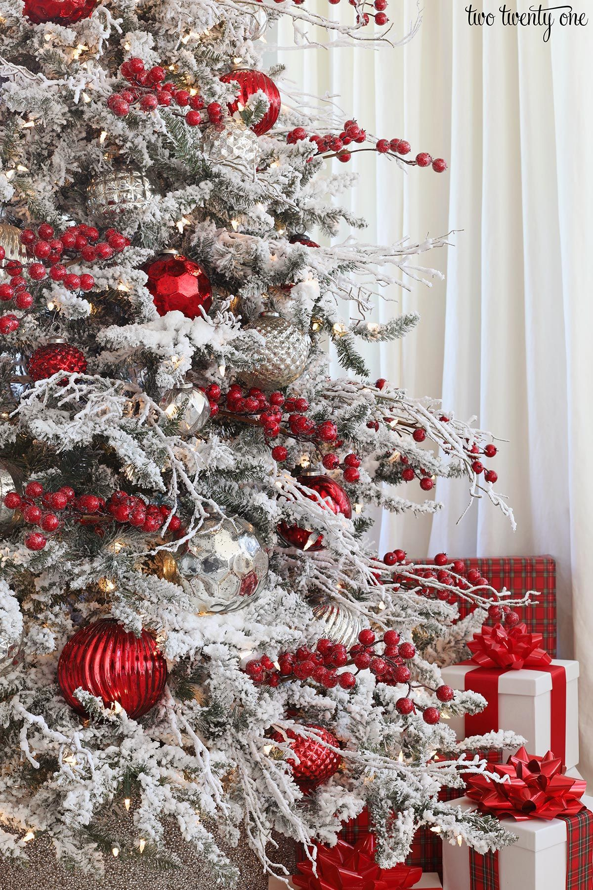 Red And Silver Christmas Tree