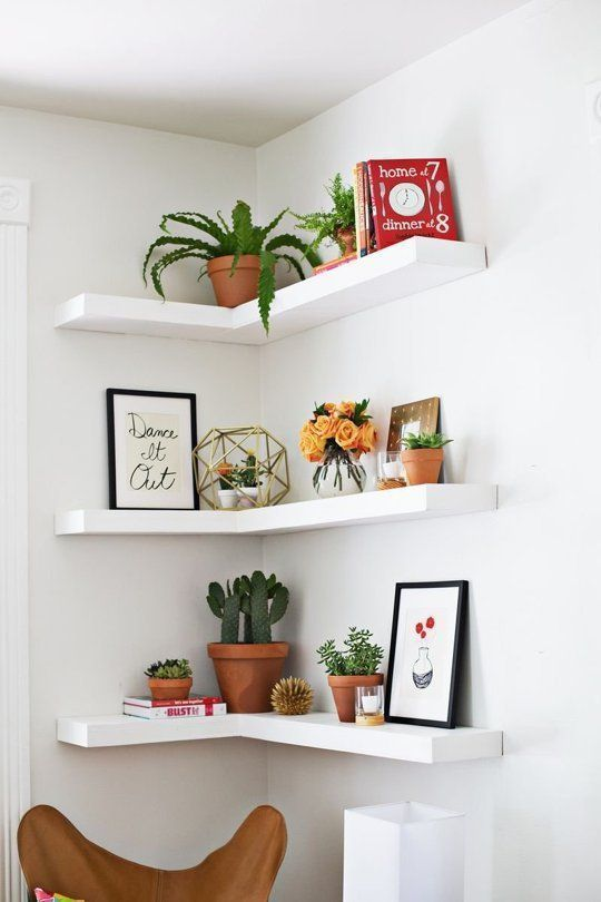 Bedroom Corner Shelves